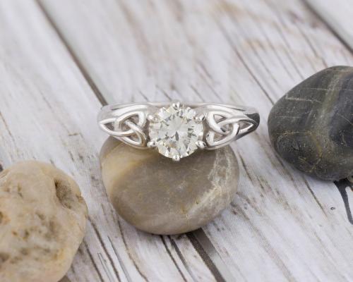 Celtic Knot Diamond Solitaire Engagement - 1