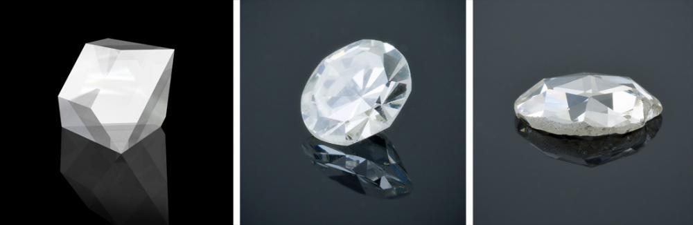 Table cut single cut and rose cut old diamond shapes