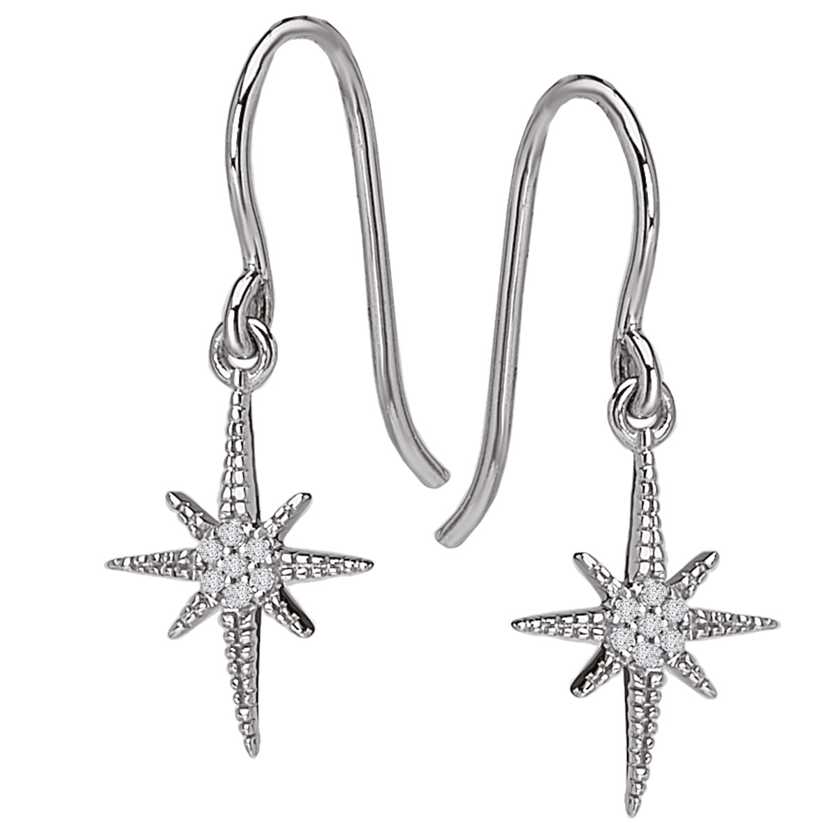 North Star Diamond Earrings - Front