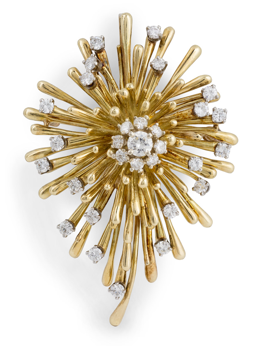 Signed Vintage Diamond Cluster Convertible Brooch or Pendant