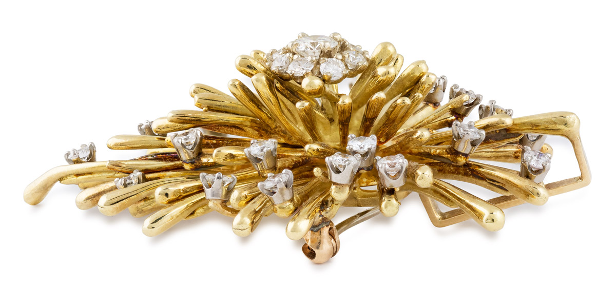 Vintage Diamond Cluster Convertible Brooch or Pendant - side