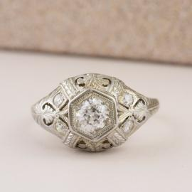 Antique Diamond Ring with Filigree Accents - 1