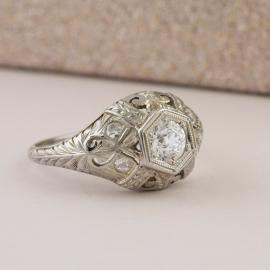 Antique Diamond Ring with Filigree Accents - 2