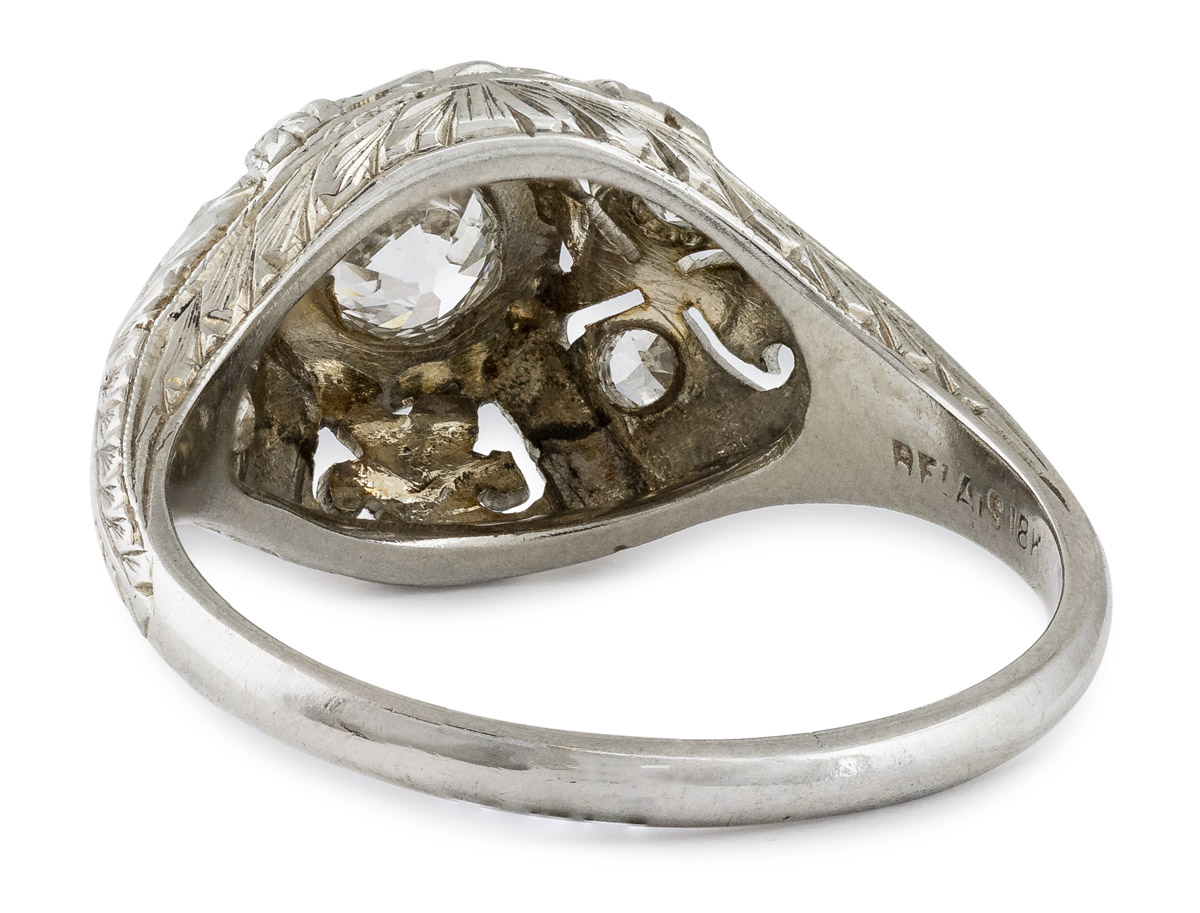 Antique Diamond Ring with Filigree Accents - Back