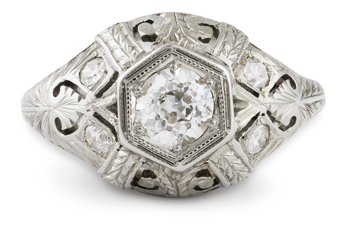 Antique Diamond Ring with Filigree Accents