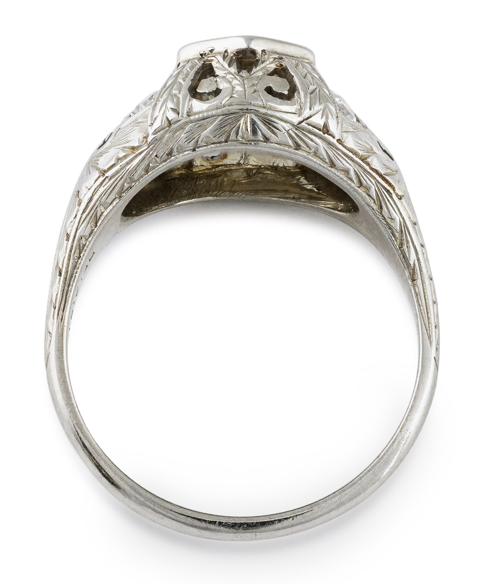 Antique Diamond Ring with Filigree Accents - Top