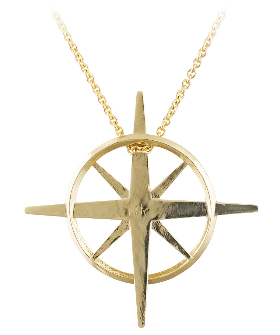 True North - North Star Necklace in Yellow Gold - Back