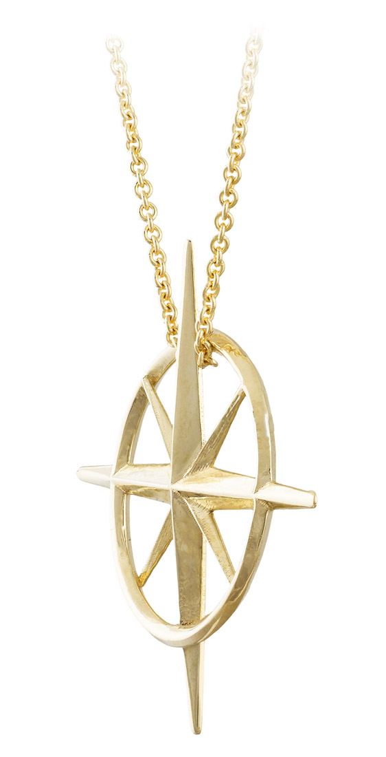 True North - North Star Necklace in Yellow Gold - Side