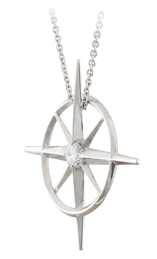 True North - Diamond North Star Necklace - Side
