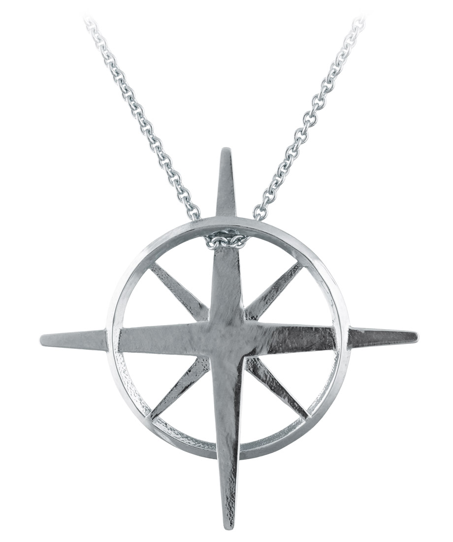 True North - Sterling Silver North Star Necklace - Back