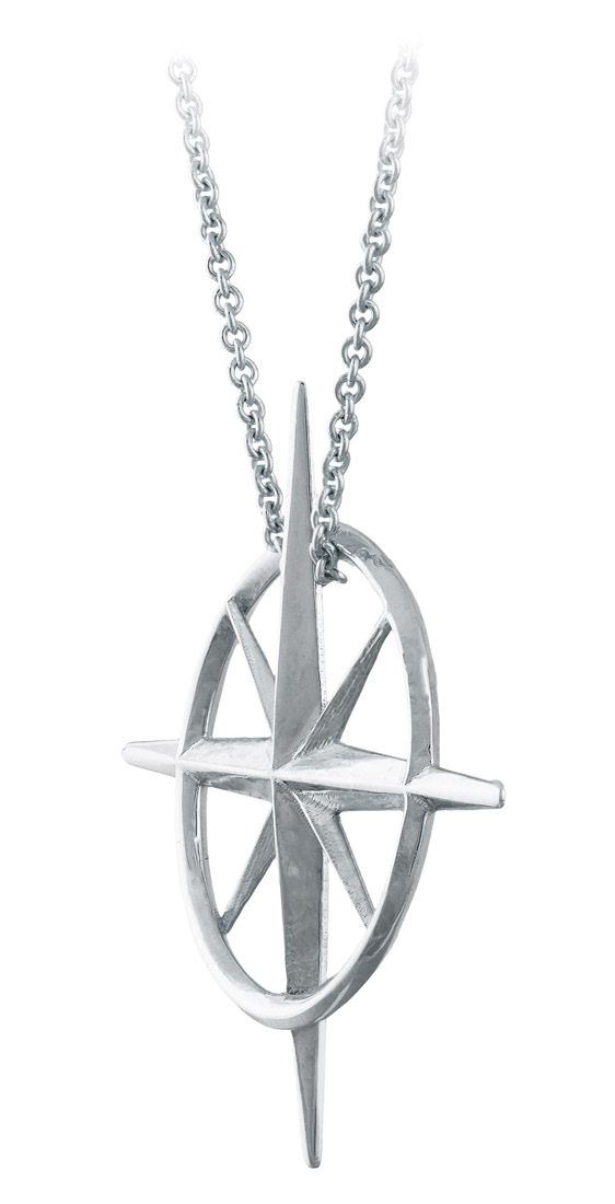 True North - Sterling Silver North Star Necklace - Side