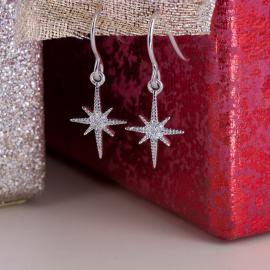 North Star Diamond Dangle Earrings - 1