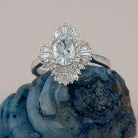 Art Deco Inspired Oval Aquamarine Ring with Baguette Diamond Halo - 1