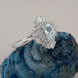 Art Deco Inspired Oval Aquamarine Ring with Baguette Diamond Halo - 2