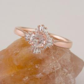 Art Deco Inspired Morganite Ring with Baguette Diamond Halo - 1