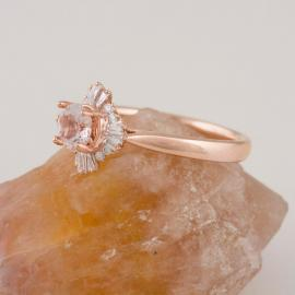 Art Deco Inspired Morganite Ring with Baguette Diamond Halo - 2