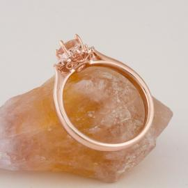 Art Deco Inspired Morganite Ring with Baguette Diamond Halo - 3