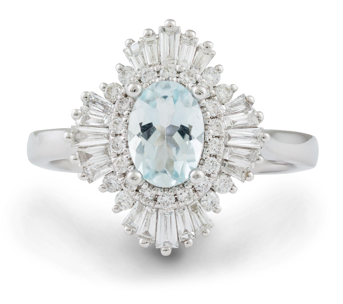 Art Deco Inspired Oval Aquamarine Ring with Baguette Diamond Halo