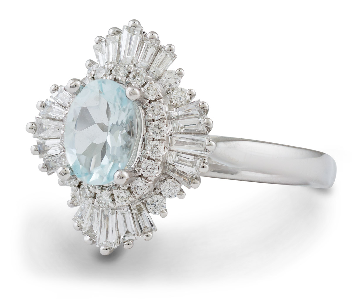 Art Deco Inspired Oval Aquamarine Ring with Baguette Diamond Halo - Side1