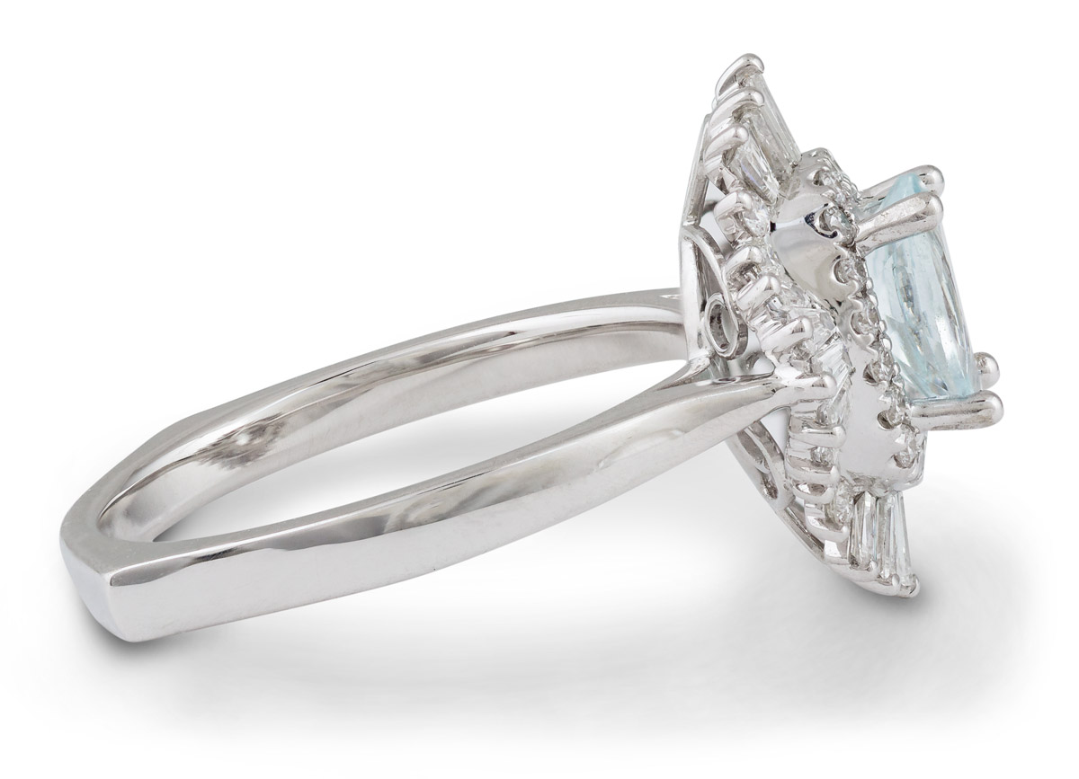 Art Deco Inspired Oval Aquamarine Ring with Baguette Diamond Halo - Side2