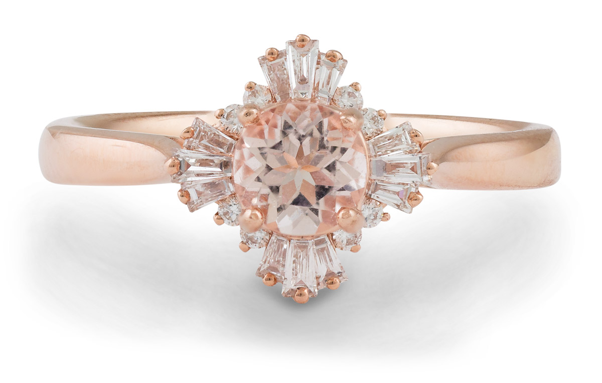 Art Deco Inspired Morganite Ring with Baguette Diamond Halo