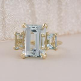 Emerald Cut Aquamarine Three Stone Ring
