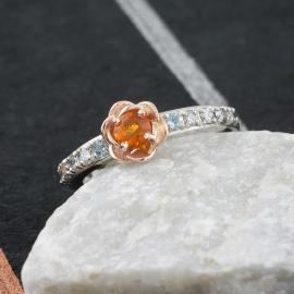 Two Tone Floral Ring with Fire Opal Center