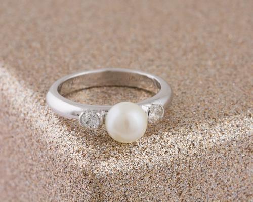 Custom Pearl and Diamond Ring