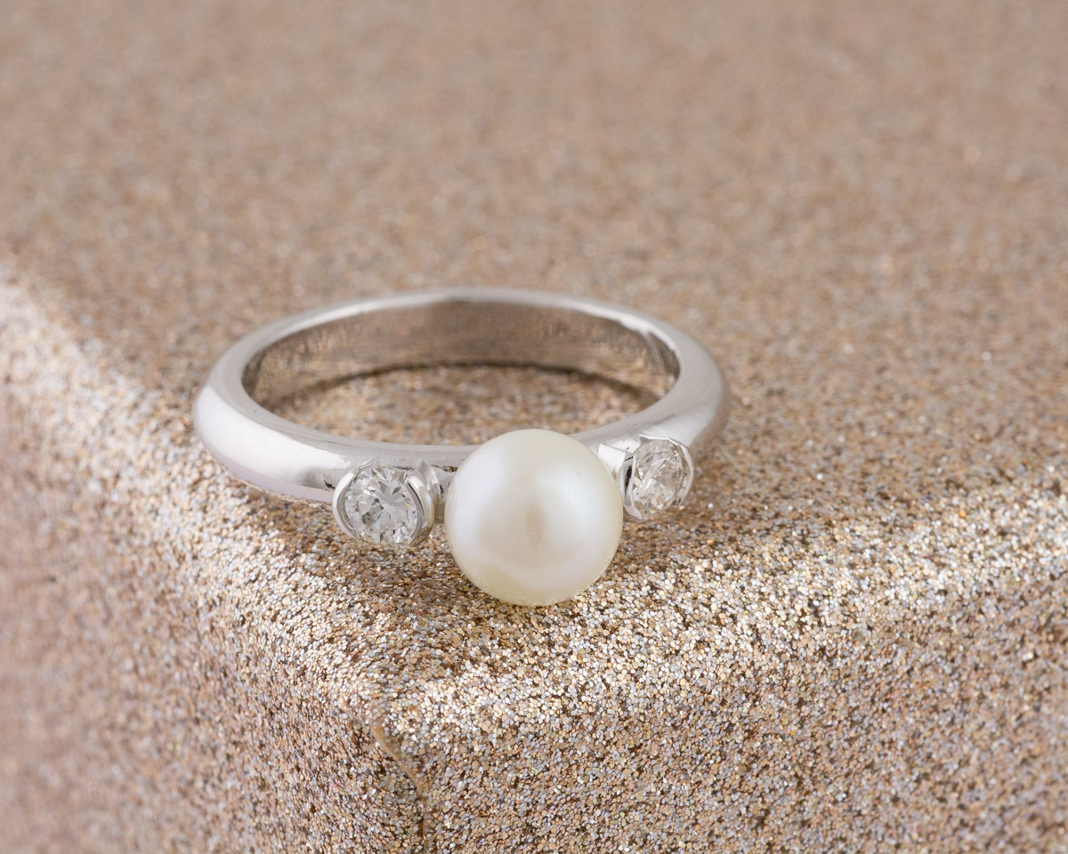 Custom Pearl and Diamond Ring