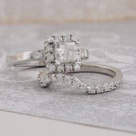 Princess Diamond Halo Wed Set