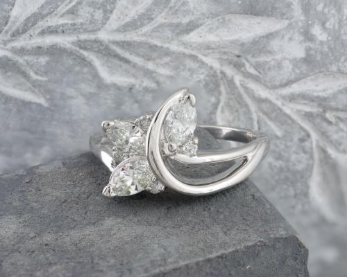 Marquise Diamond Sprig and Vine Ring