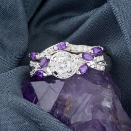 Diamond Wedding Set with Amethyst Accents