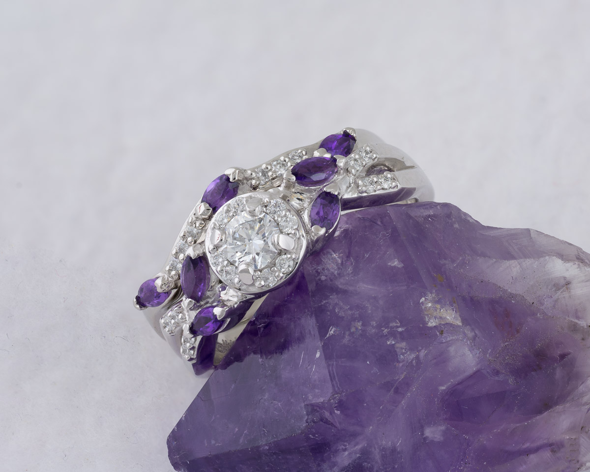 d59f6c4e9 Diamond Wedding Set With Amethyst Accents : Arden Jewelers