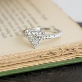 Trillion Halo Diamond Engagement Ring
