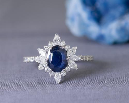 Sapphire Engagement Ring with Starburst Diamond Halo