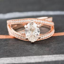 Orbit Crossover Oval Diamond Engagement Ring