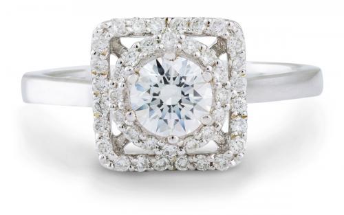 Geometric Double Diamond Halo Engagement Ring