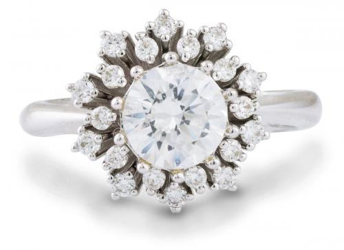 Floral Cluster Diamond Halo Engagement Ring