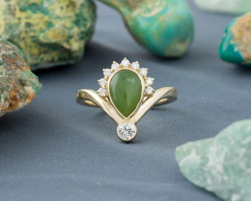 Nephrite Jade Ring with Diamond Accents-1