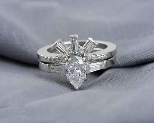 Custom Wedding Set with Pear Diamond and Baguette Accents