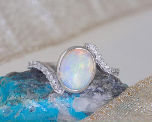 Custom Opal Bezel Ring with Diamond Accents1