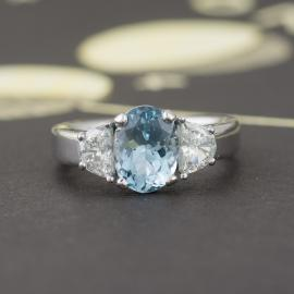 Custom Aquamarine Ring with Diamond Accents