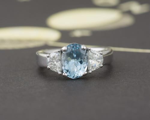Custom Aquamarine Ring with Diamond Accents