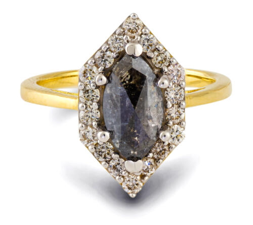 Salt and Pepper Marquise Diamond Halo Engagement Ring