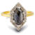 Salt and Pepper marquise diamond engagement ring - front