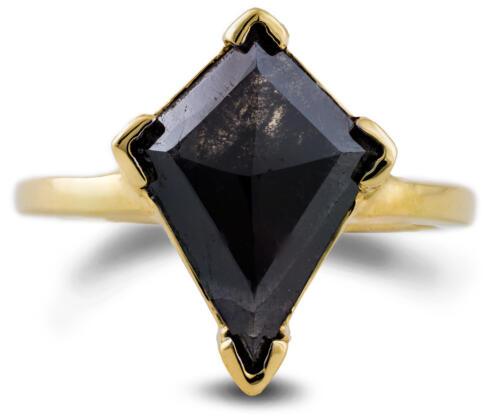 Salt and Pepper Diamond Kite Solitaire Ring