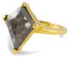 Salt and pepper diamond kite shaped solitaire engagement ring - side