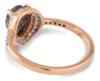 Salt and pepper pear diamond rose gold engagement ring - back