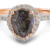 Salt and pepper pear diamond rose gold engagement ring - front