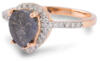 Salt and pepper pear diamond rose gold engagement ring - side